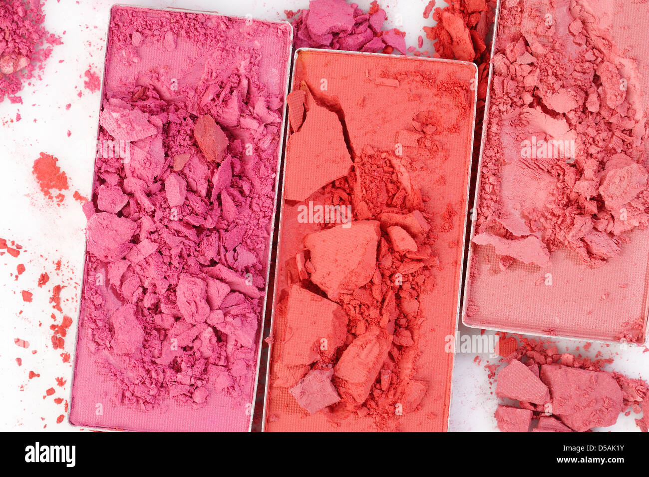 Cosmetic powder brush on white background - Stock Image