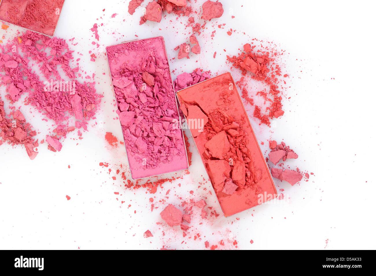 Cosmetic powder brush on white background - Stock Image