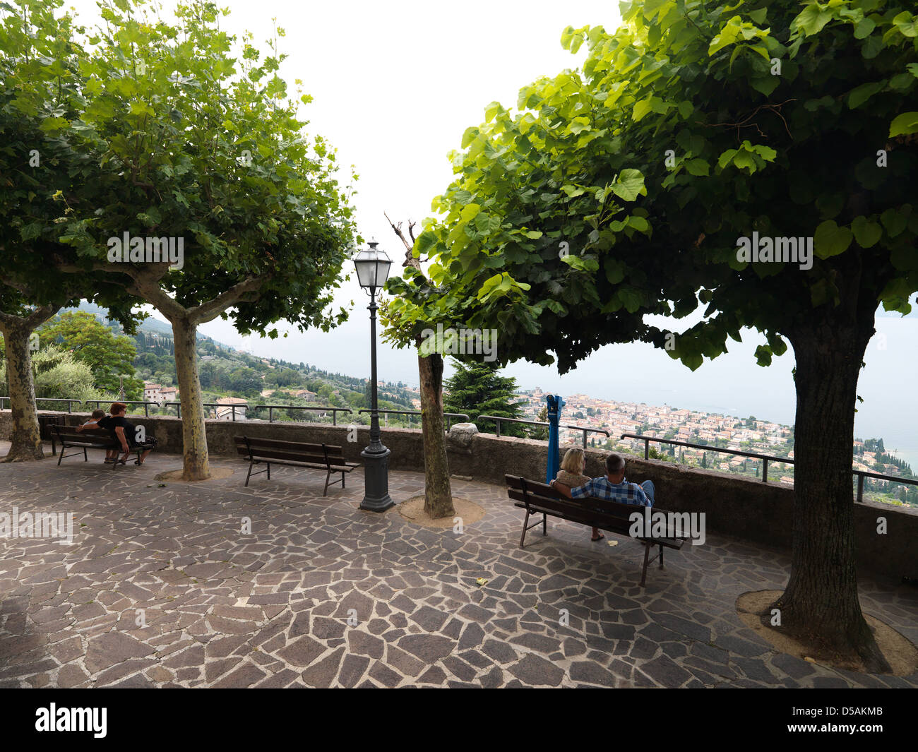Albisano, Italy, panoramic terrace with views of Lake Garda from the Centro Storico - Stock Image