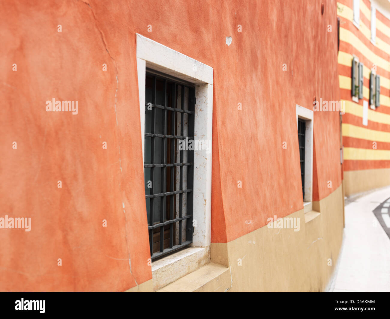 Albisano, Italy, colored painted facades in Centro Storico - Stock Image
