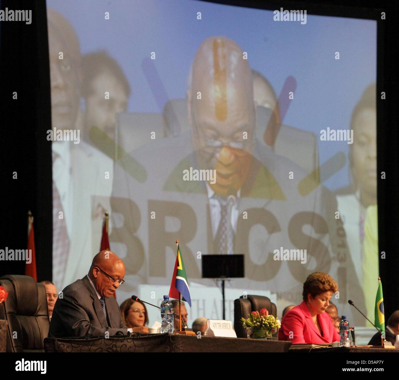Durban, South Africa. 27th March 2013. South Africa president Jacob Zuma and Brazilian president Dilma Rousseff - Stock Image