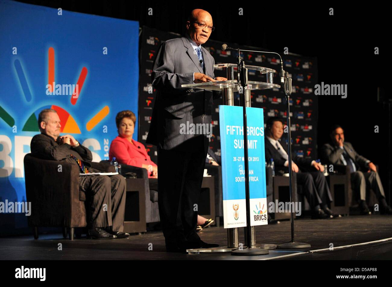 Durban, South Africa. 27th March 2013. President Jacob Zuma, President Dilma Rousseff, President Vladimir Puting - Stock Image