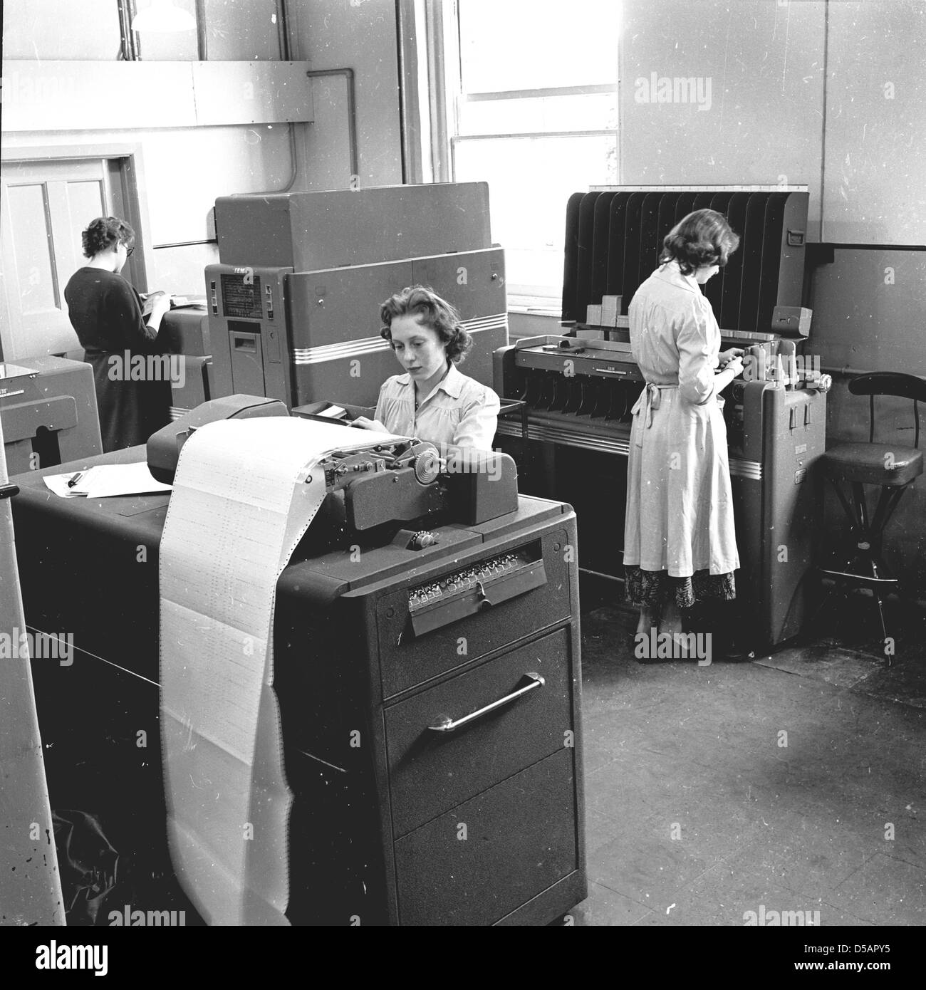 Historical Picture From 1950s Three Young Women Working