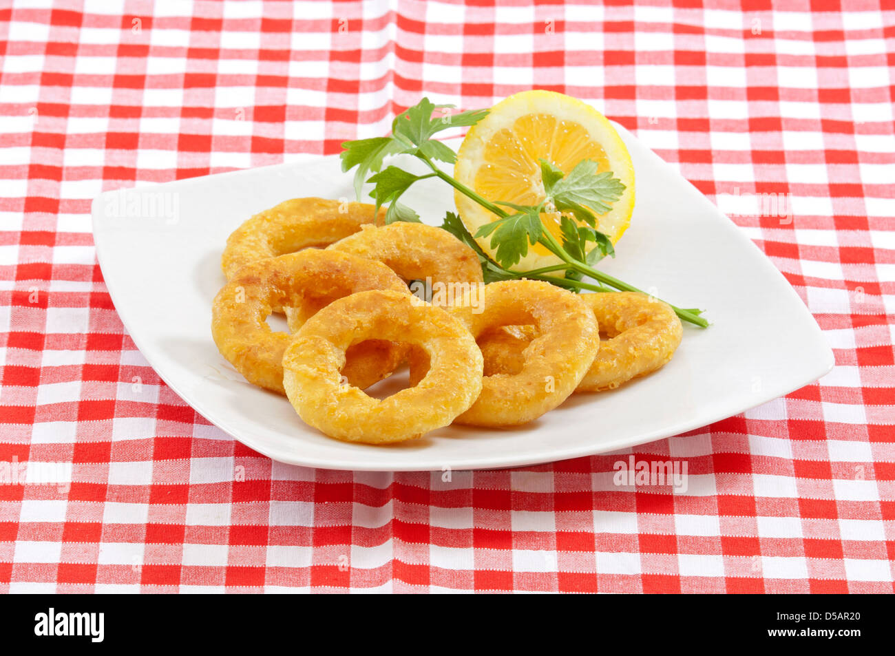 deep fried breaded calamari(squid) rings served in a white plate on a traditional napkin - Stock Image