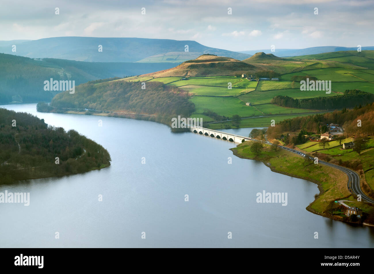 Elevated view of Ladybower Reservoir in soft winter light, The Peak District National Park. - Stock Image