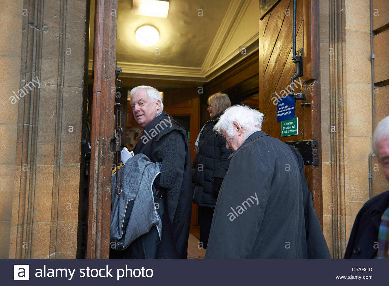 Lord Patten entering Sheldonian Theatre at The Oxford Literary Festival 2013 Geraint Lewis - Stock Image