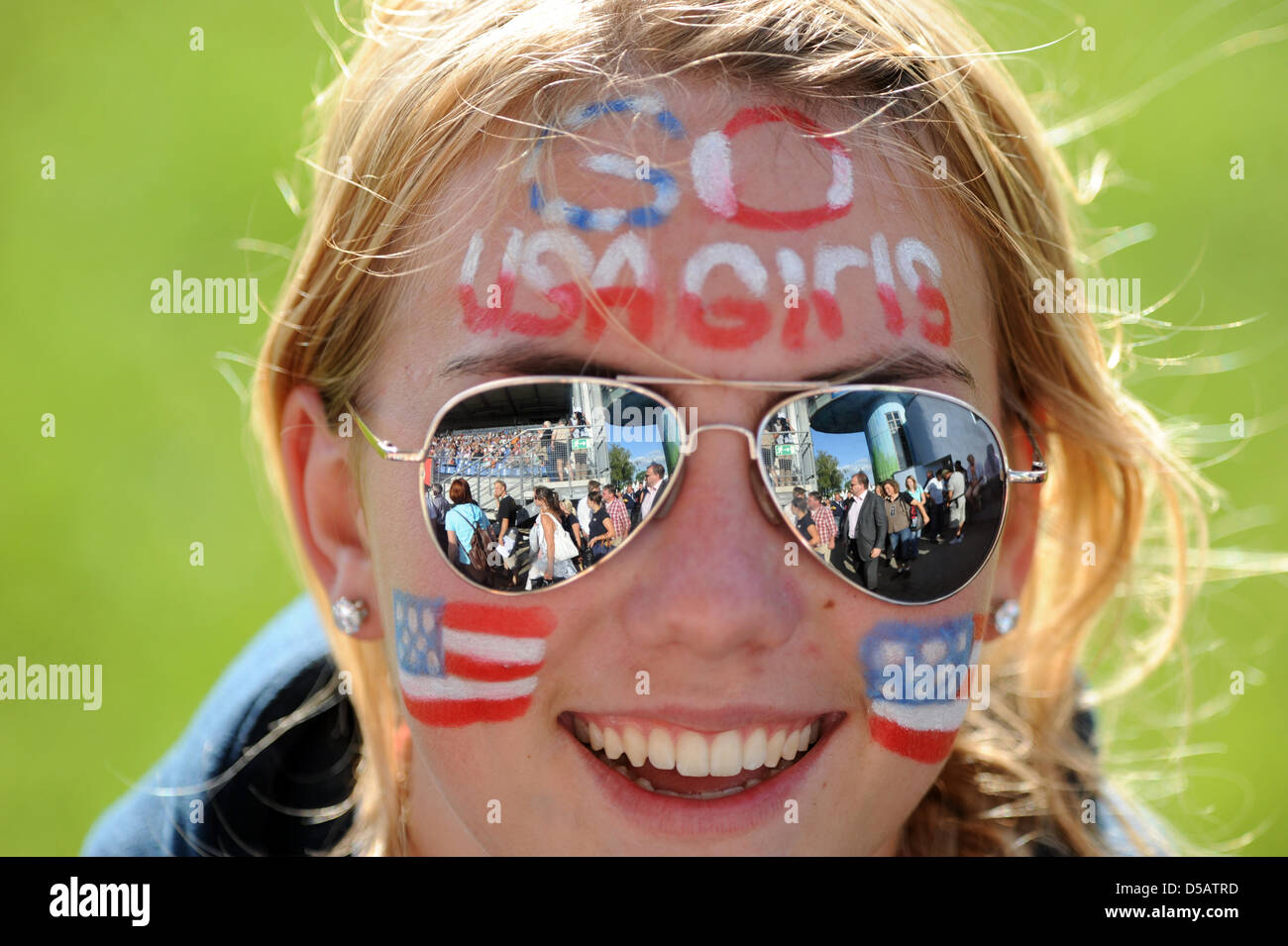 An American woman cheers at the FEINations Cup at the 'World's festival of equestrian sports - CHIO - Stock Image