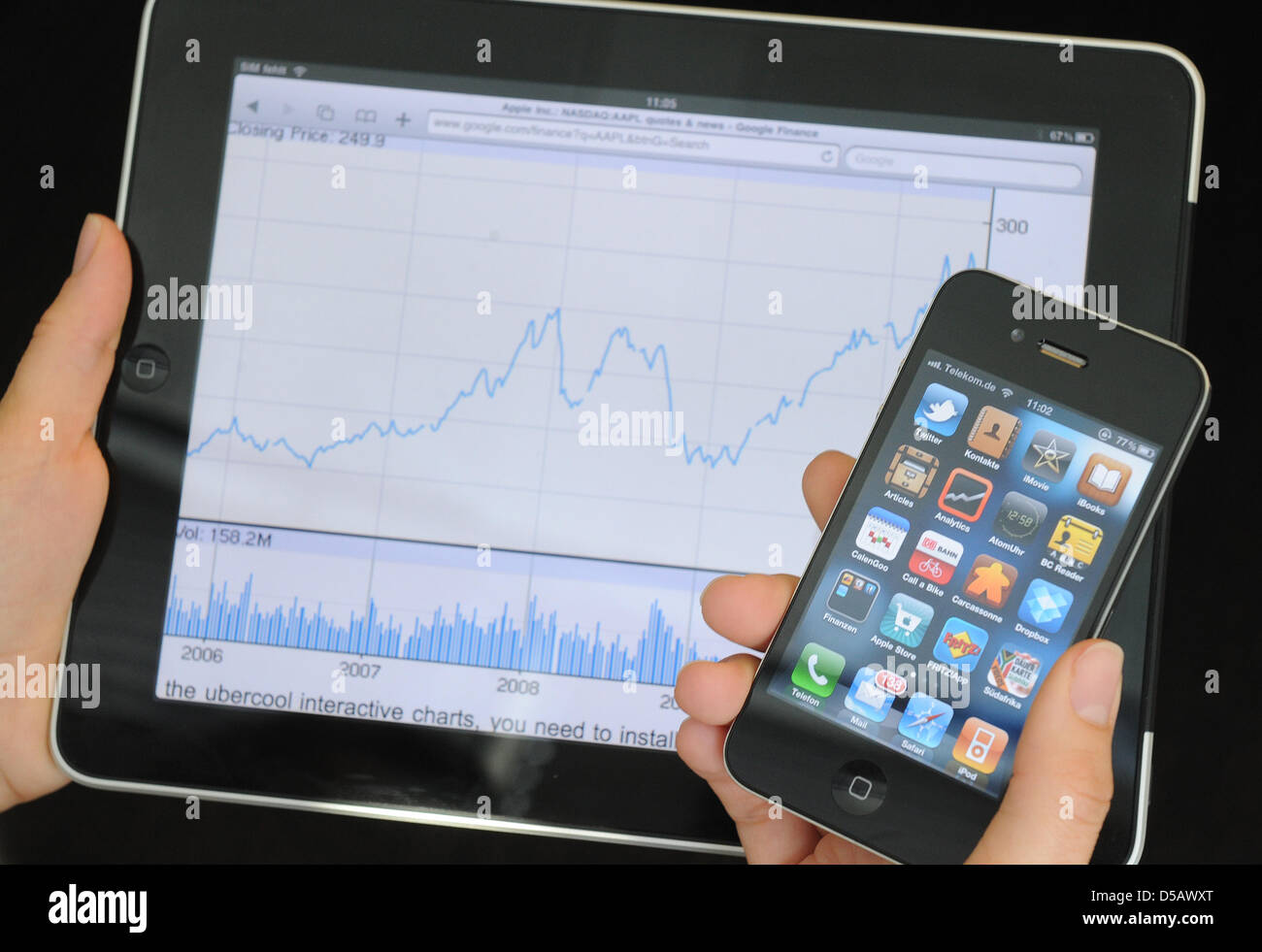 An Apple iPhone of the 4th generation is featured before the graph of the Apple share displayed on the screen of Stock Photo