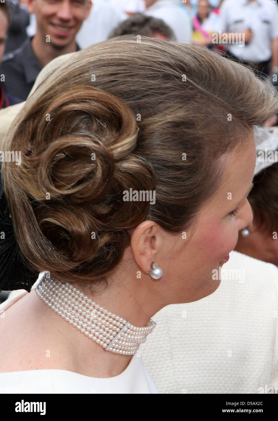 Hairstyle Of Crown Princess Mathilde Of Belgium Seen While She Stock