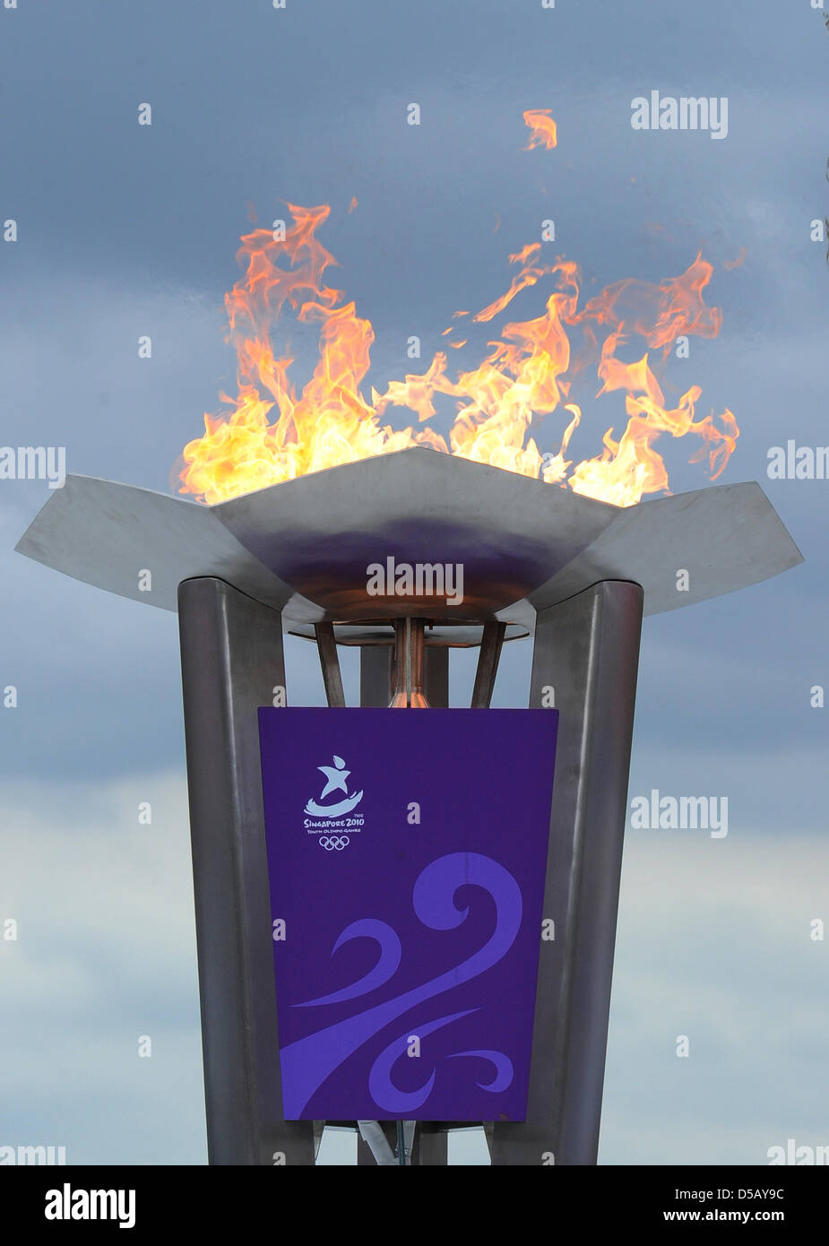 The Olympic Flame blazes for the Youth Olympic Games (YOC) in Berlin, Germany, 24 July 2010. Berlin is the - Stock Image