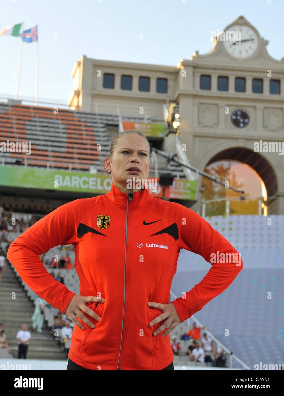 Shot put final at the European Athletics Championships in Barcelona, Spain, 27 July 2010. German shot putter Nadine - Stock Image