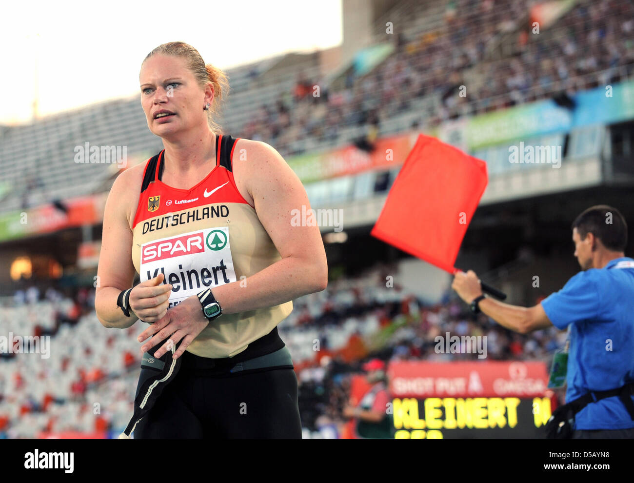 German shot putter Nadine Kleinert performs during the shot put event at the European Athletics Championships in - Stock Image