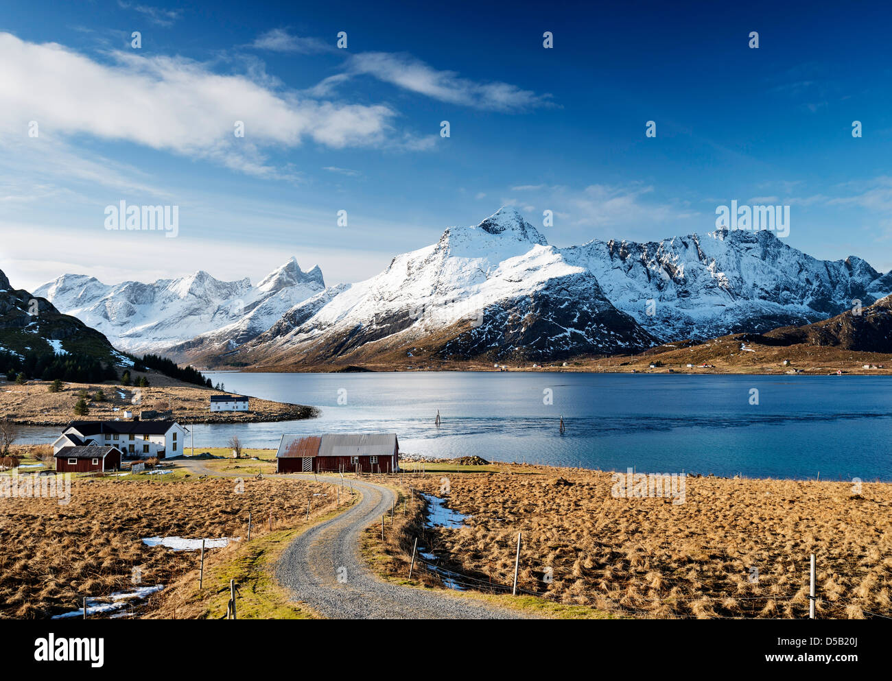 A view looking up Selfjorden from Straumsnes on the Lofoten islands, Norway - Stock Image