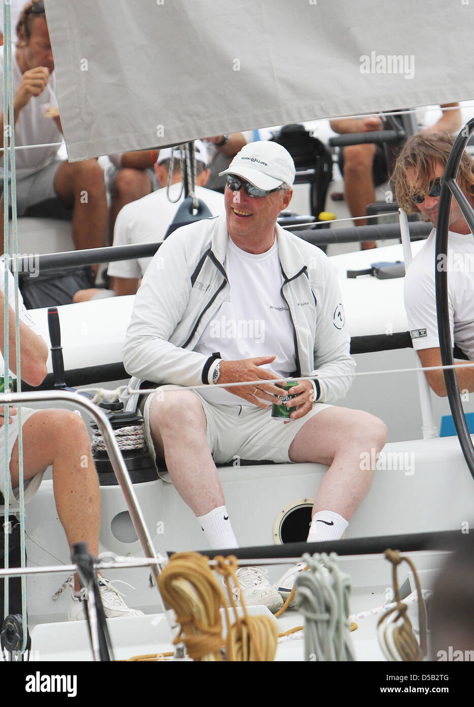 King Harald of Norway attends the third day of the 29th edition of the Sailing King's Cup (Copa del Rey) on - Stock Image