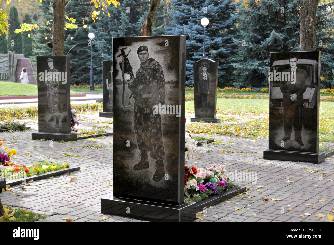 Gravestones of Russian soldiers who fell in the South Ossetia conflict pictured at a war cemetery in Kursk, Russia, - Stock Image