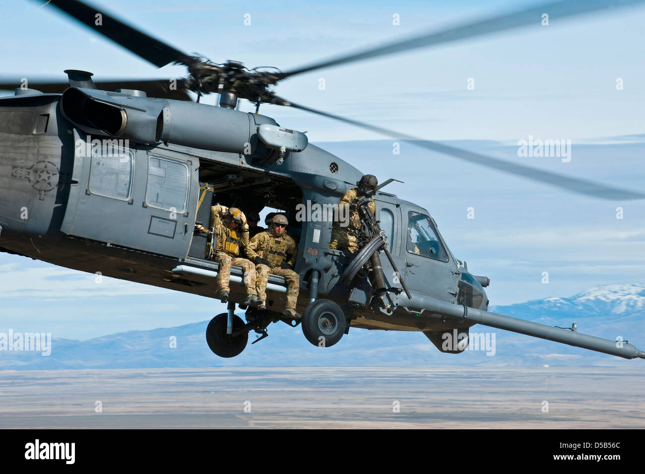 A US Air Force HH-60 Pavehawk helicopter with the 66th Rescue Squadron during a training exercise March 12, 2013, - Stock Image
