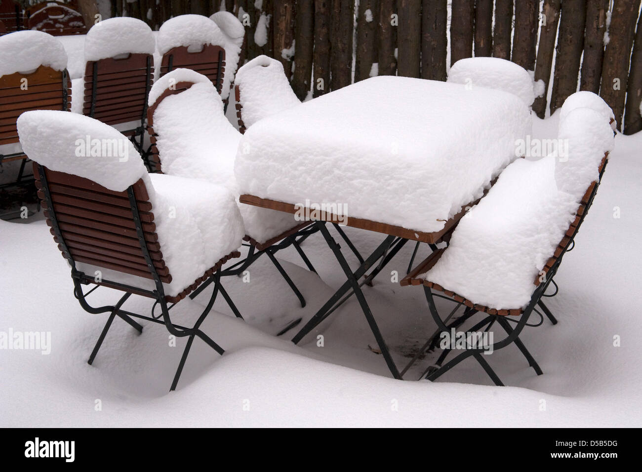 Chairs And A Table Are Covered In Snow At The Zoo In Leipzig, Germany, 11  January 2010. Only Few Animals Can Be Seen In The Outdoor Enclosures As  Most Of ...