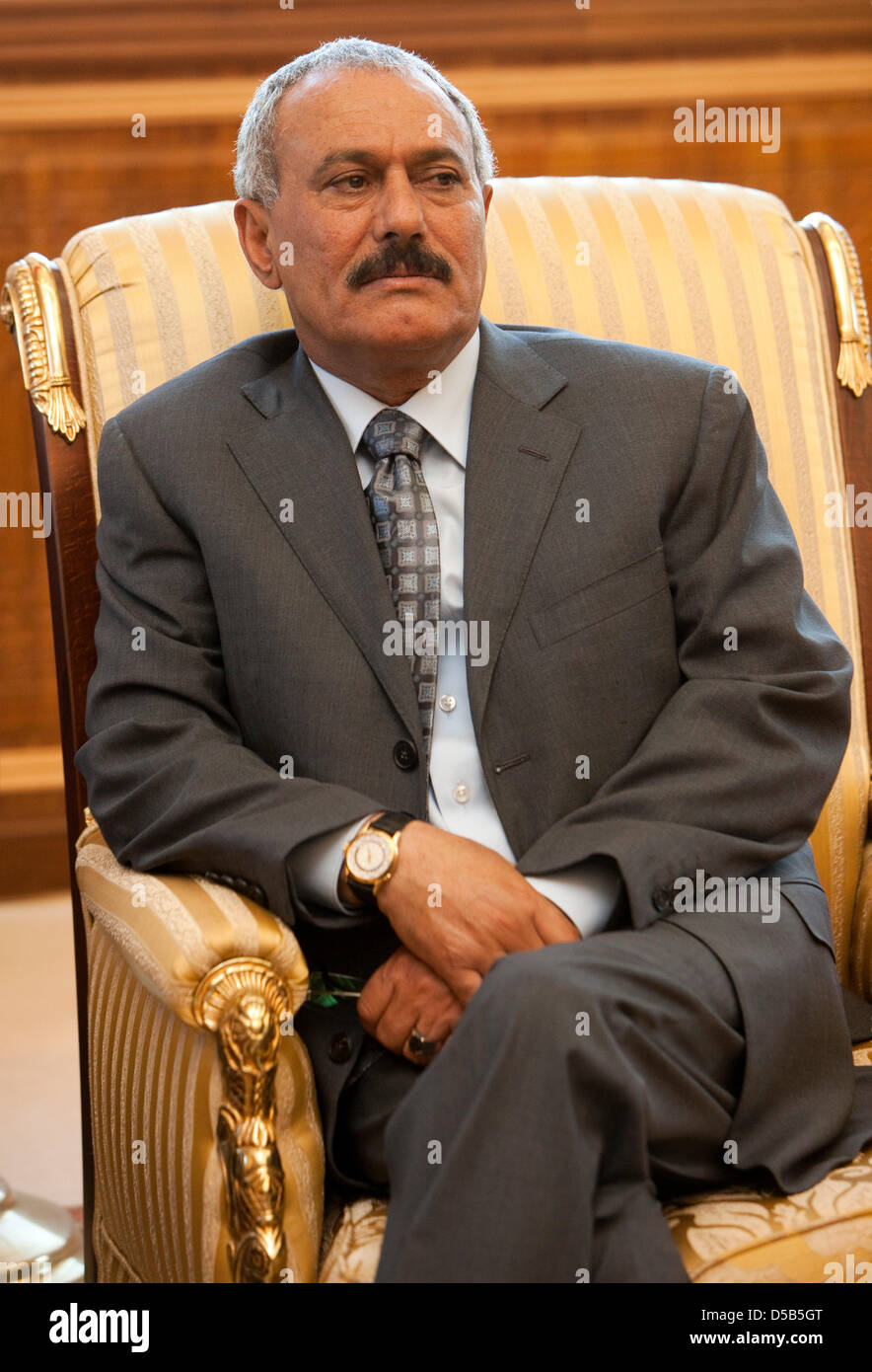 The President of the Republic of Yemen, Ali Abdullah Salih, in Sanaa, Yemen, 11 January 2010. He is one of the longest - Stock Image
