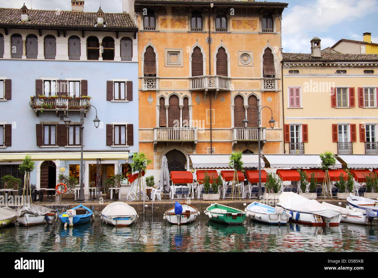 Harbor of Desenzano on Lake Garda, Region of Brescia, Lombardy, Italy Stock Photo
