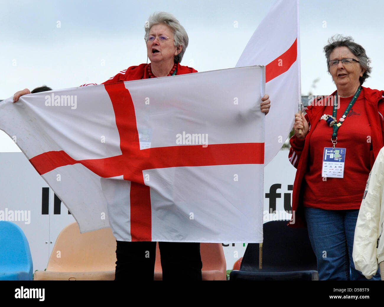 England fans cheer and sing during the playing of the national anthym prior to the match Netherlands vs. England - Stock Image