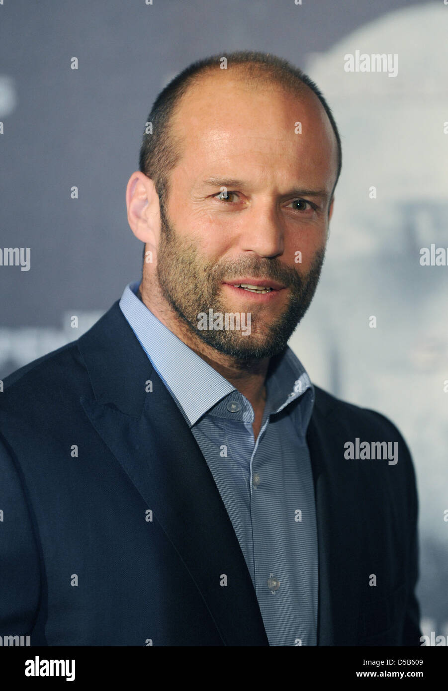 British actor Jason Statham smiles as he promotes his new movie 'The Expendables' in Berlin, Germany, 06 August Stock Photo