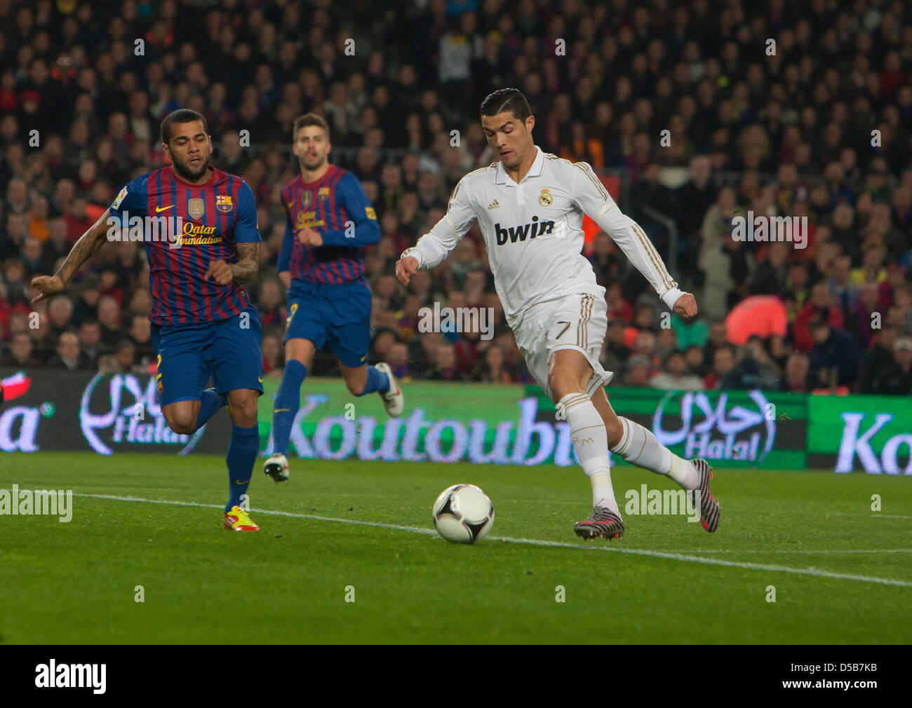 Barcelona, Spain, Cristiano Ronaldo, Real Madrid, on the ball in the Camp Nou stadium - Stock Image