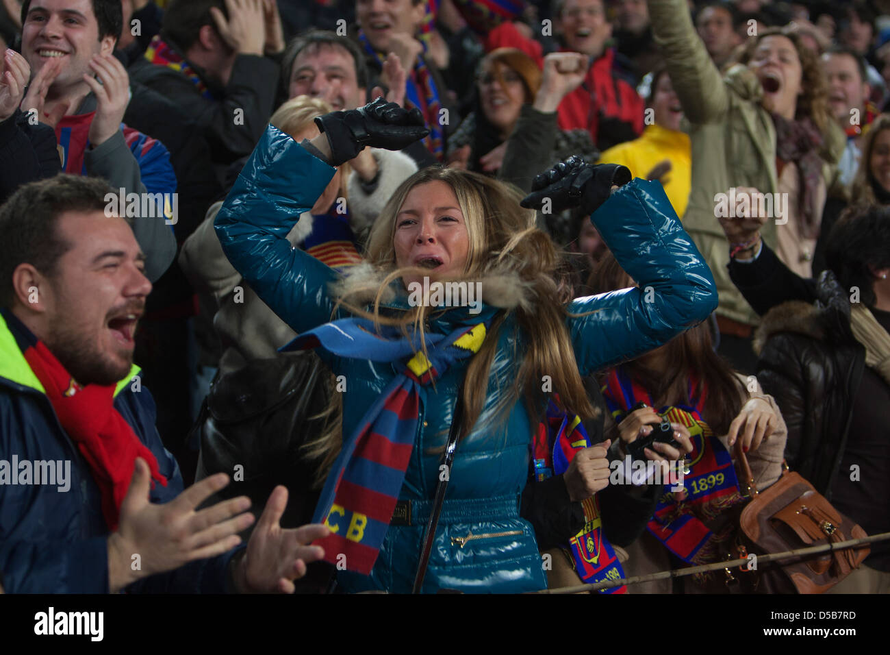 Barcelona, Spain, football fans of FC Barcelona at the Camp Nou stadium - Stock Image