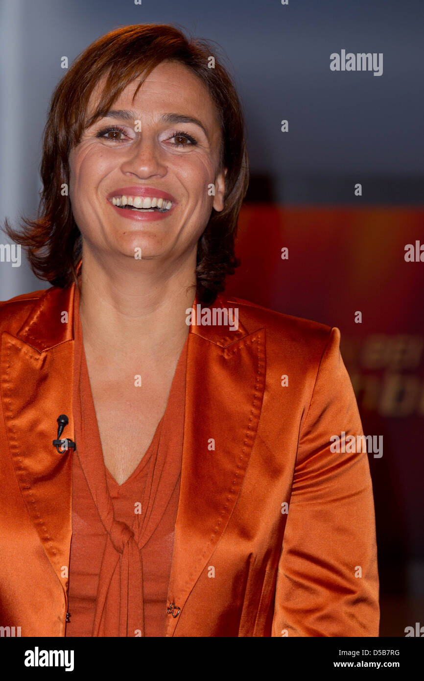 "Sandra Maischberger at German talkshow ""Menschen bei Maischberger"" at WDR studios. Cologne, Germany - Stock Photo"