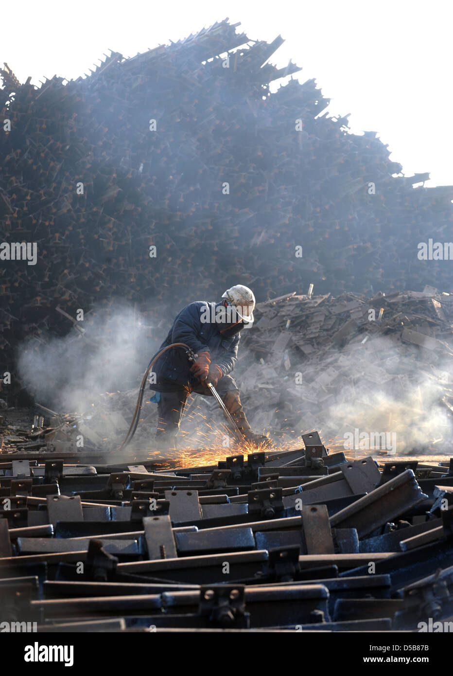 Espenhain, Germany, workers dismantled old railroad tracks - Stock Image