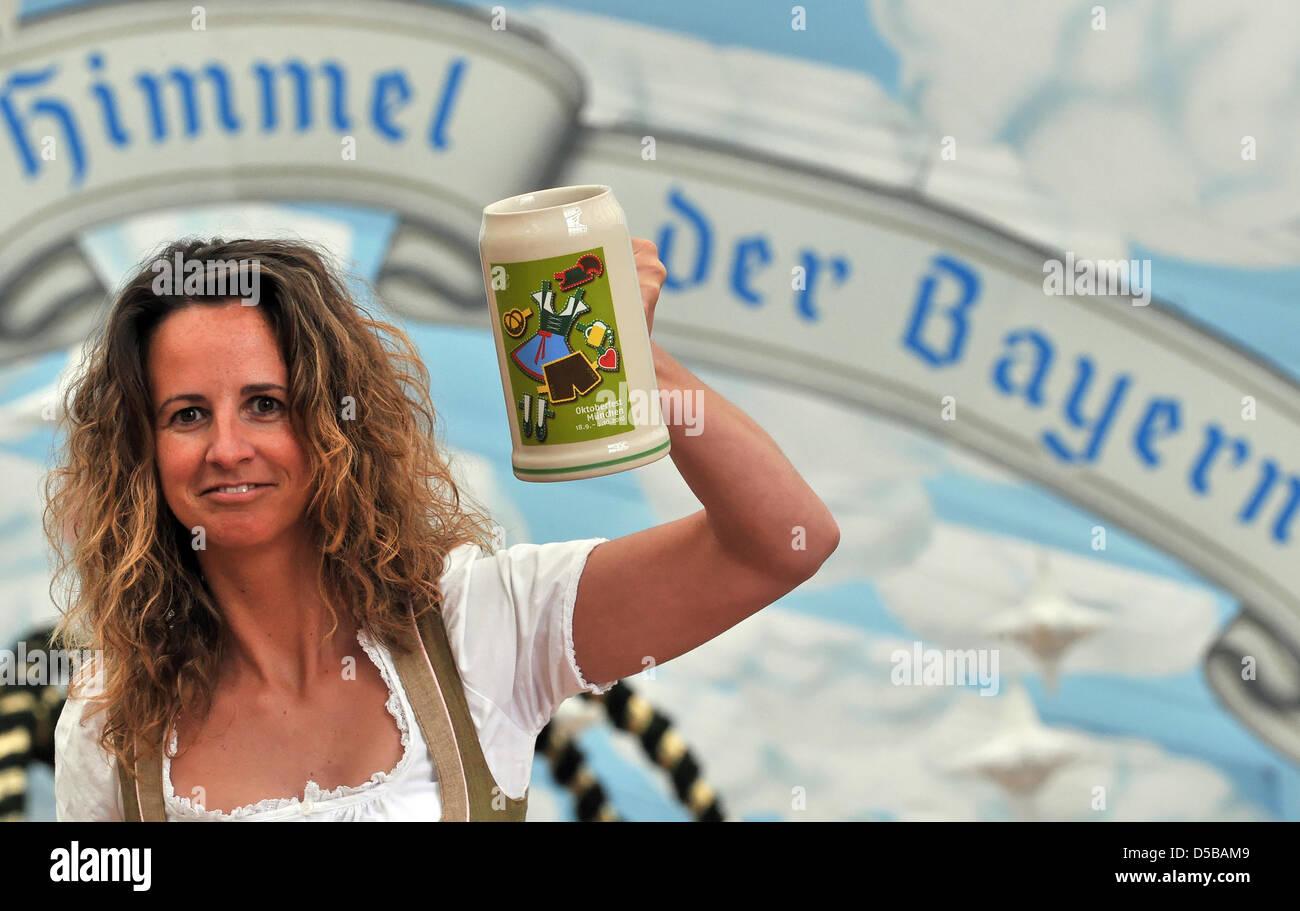 Francesca presents the official 200 year Jubilee Stein 'Wiesn-Bierkrug' 2010, in Munich, Germany, 19 August 2010. Stock Photo
