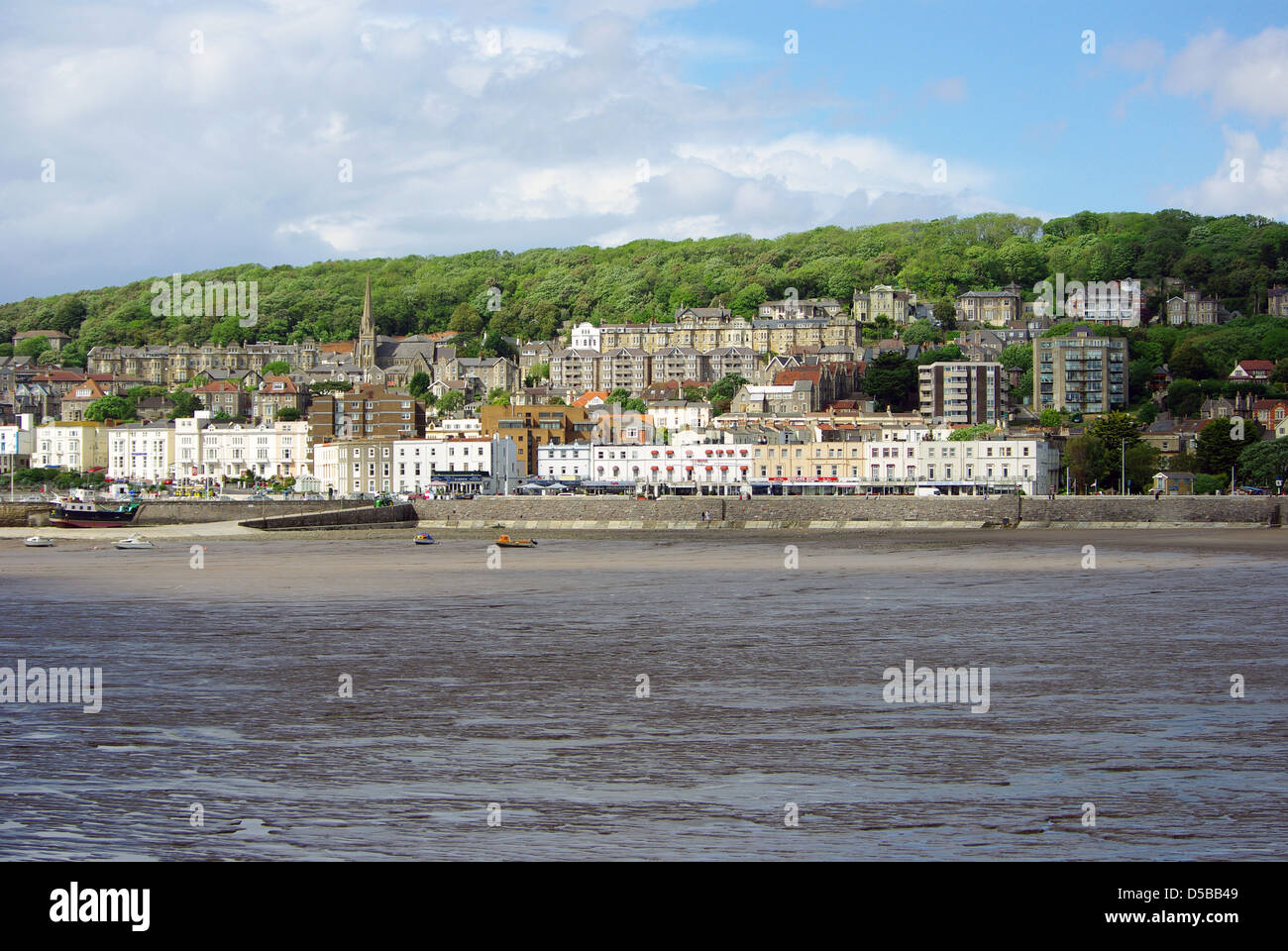 A seafront view over Weston-Super-Mare beach, UK, Somerset - Stock Image
