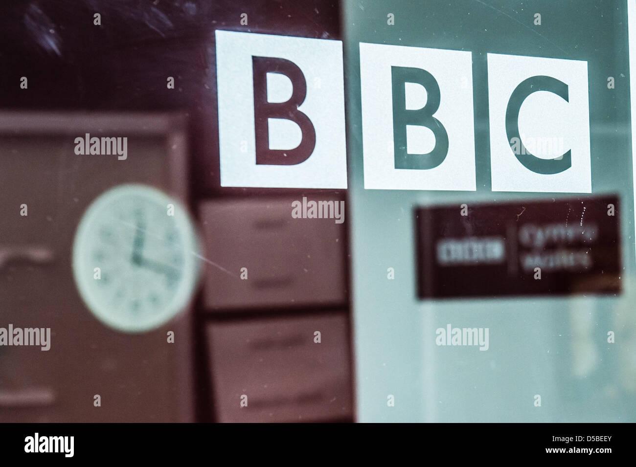 Aberystwyth, Ceredigion, Wales, UK. 28th March 2013.   The studios of BBC Radio Wales and Radio Cymru in Aberystwyth - Stock Image