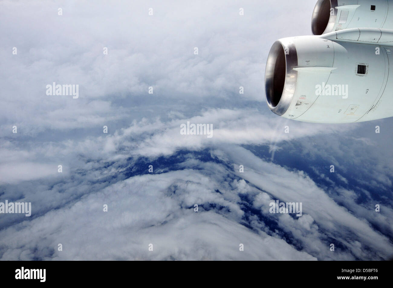 The eye of Hurricane Earl in the Atlantic Ocean is seen from NASA s DC-8 research aircraft, Monday, Aug. 30, 2010. Stock Photo