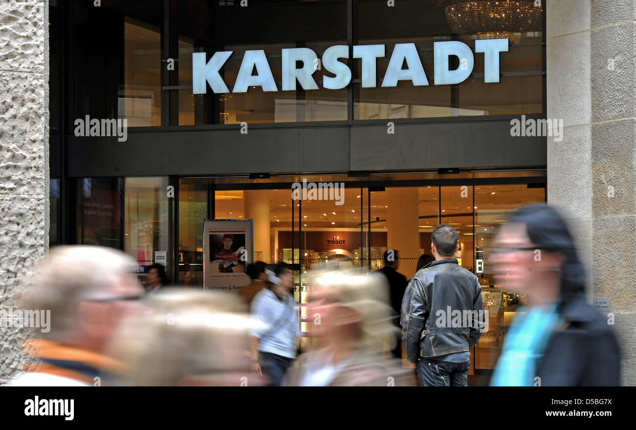 A picture taken on 02 September 2010 shows the entrance of a Karstadt department store in Leipzig, Germany. The - Stock Image
