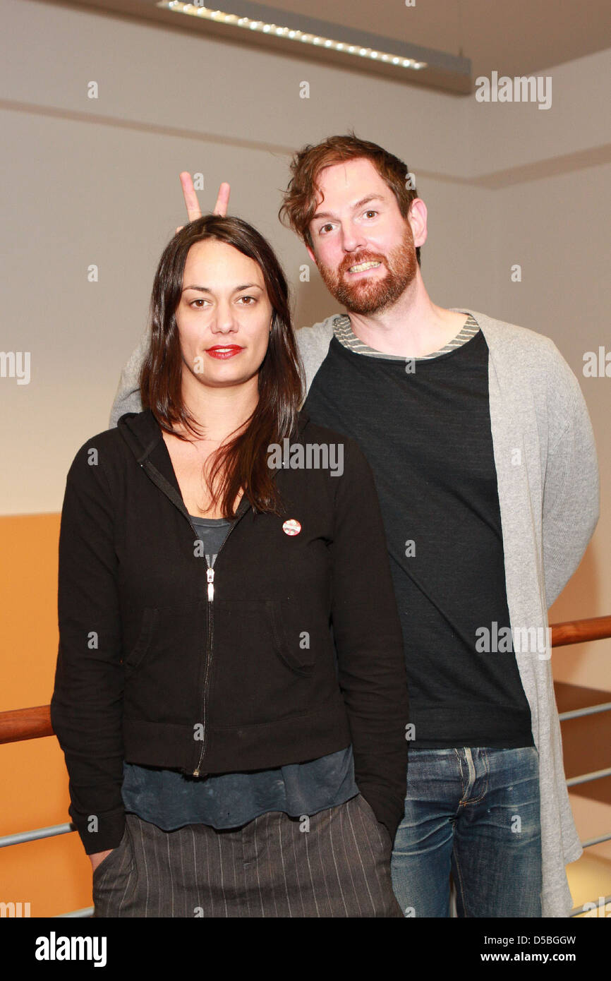 Michael Grubbs and Tanya Buziak of Wakey!Wakey! during a promotional visit to radio station Radio Hamburg. Hamburg - Stock Image