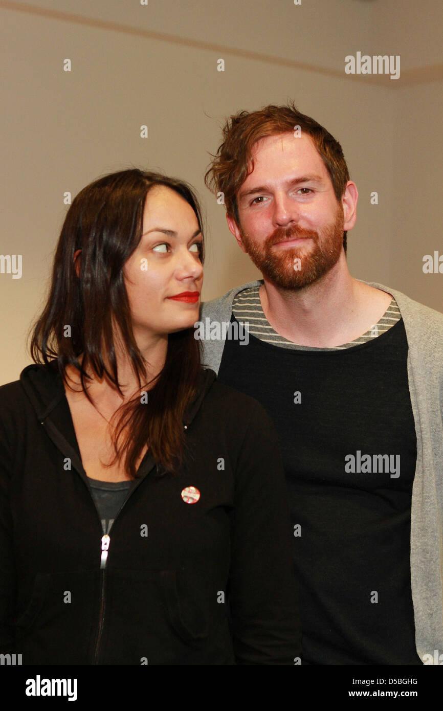 Michael Grubbs and Tanya Buziak of Wakey!Wakey! during promotional visit to radio station Radio Hamburg. Hamburg, - Stock Image