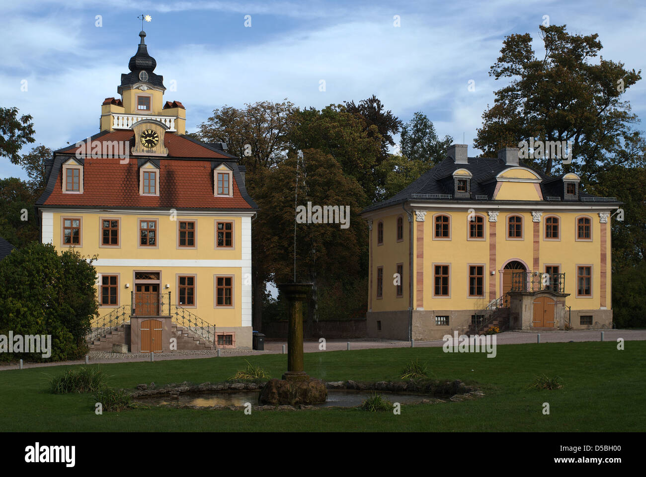 Weimar, Germany, the Kavaliershaeuser in the Belvedere Palace in fall Stock Photo