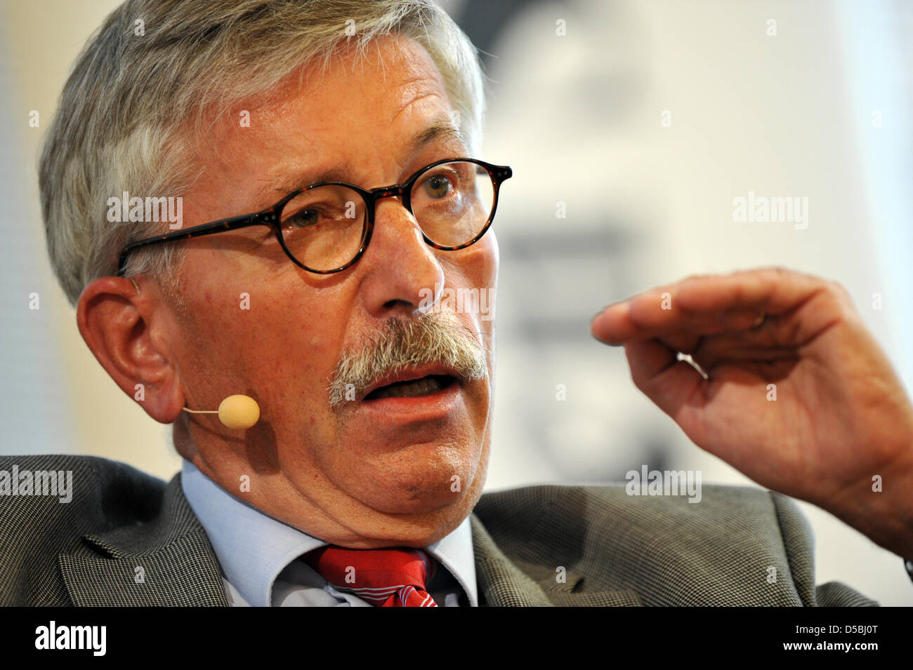 Thilo Sarrazin, publicist and board member of the German Federal Bank, takes part in a panel discussion at the fifth - Stock Image