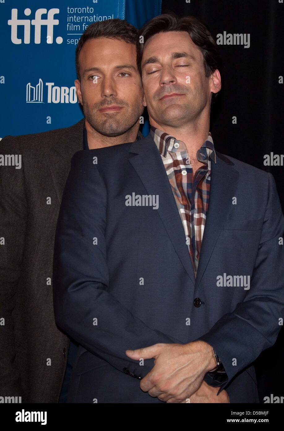 Director Ben Affleck (L) and actor John Hamm attend the press conference of 'The Town' during the Toronto - Stock Image