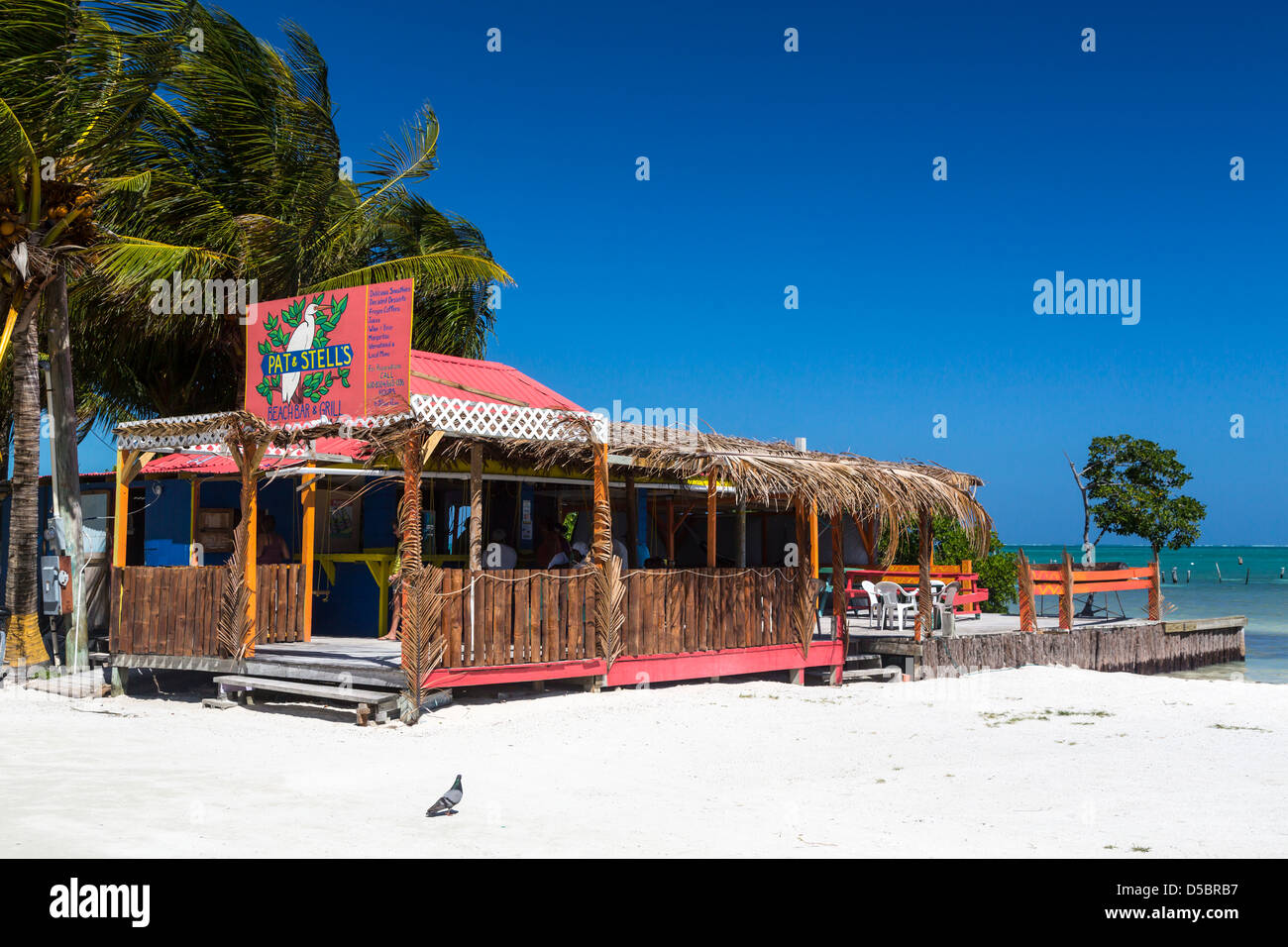 A beach-side restaurant on Cay Caulker, Belize. - Stock Image