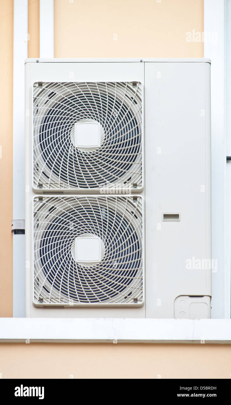 Split Ac Fan Stock Photos Images Alamy Wiring Dual Electric Fans The Air Conditioner Condensing Unit Cdu With Twin Image