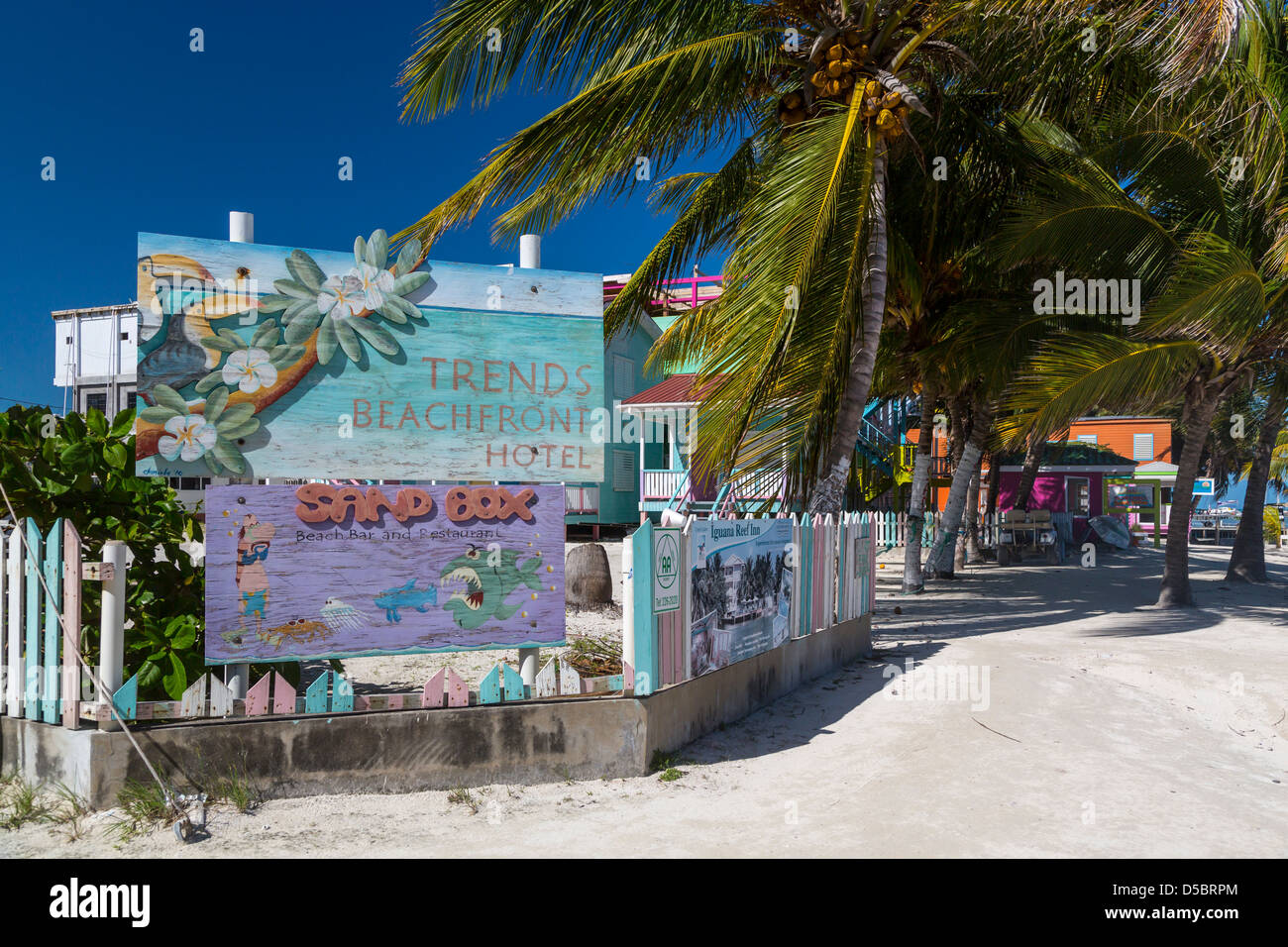 The Trends Beachfront Hotel on the island of Cay Caulker, Belize. - Stock Image