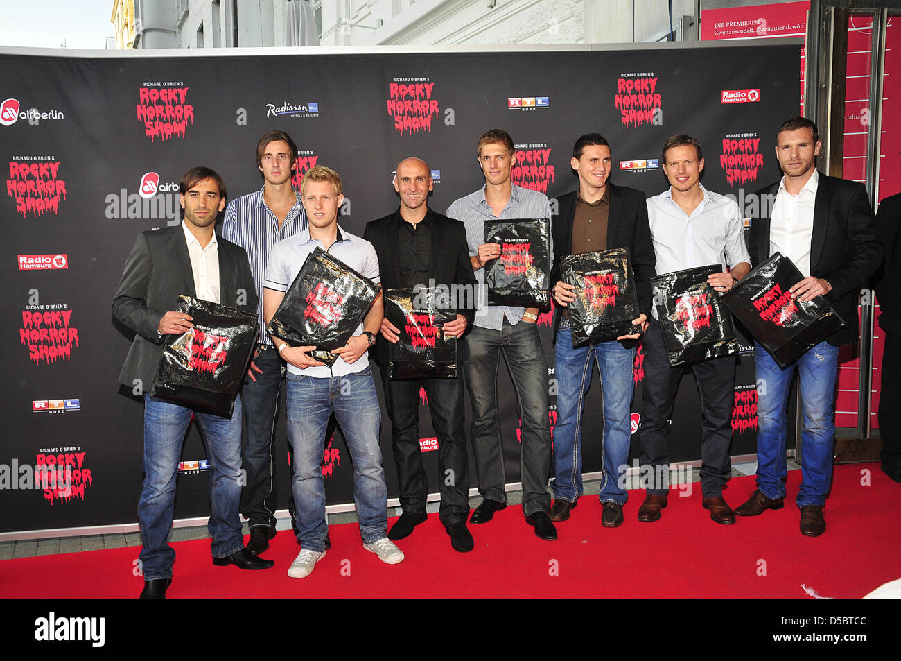 St Pauli Fussballspieler at the premiere of the musical 'Rocky Horror Show'. Hamburg, Germany - 27.07.2011. - Stock Image