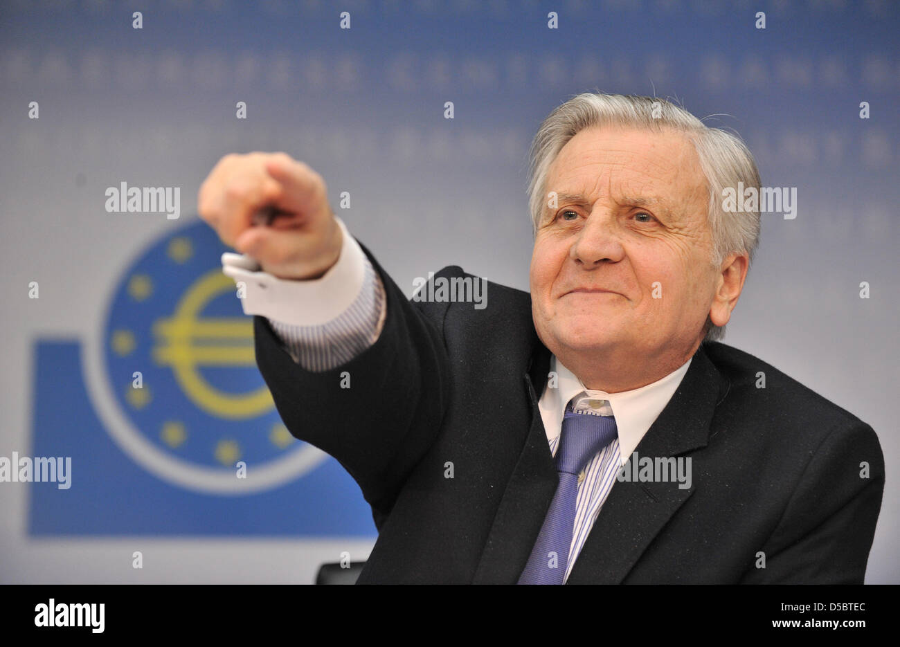 President of European Central Bank (ECB) Jean-Claude Trichet gestures during a press conference in Frankfurt Main, - Stock Image