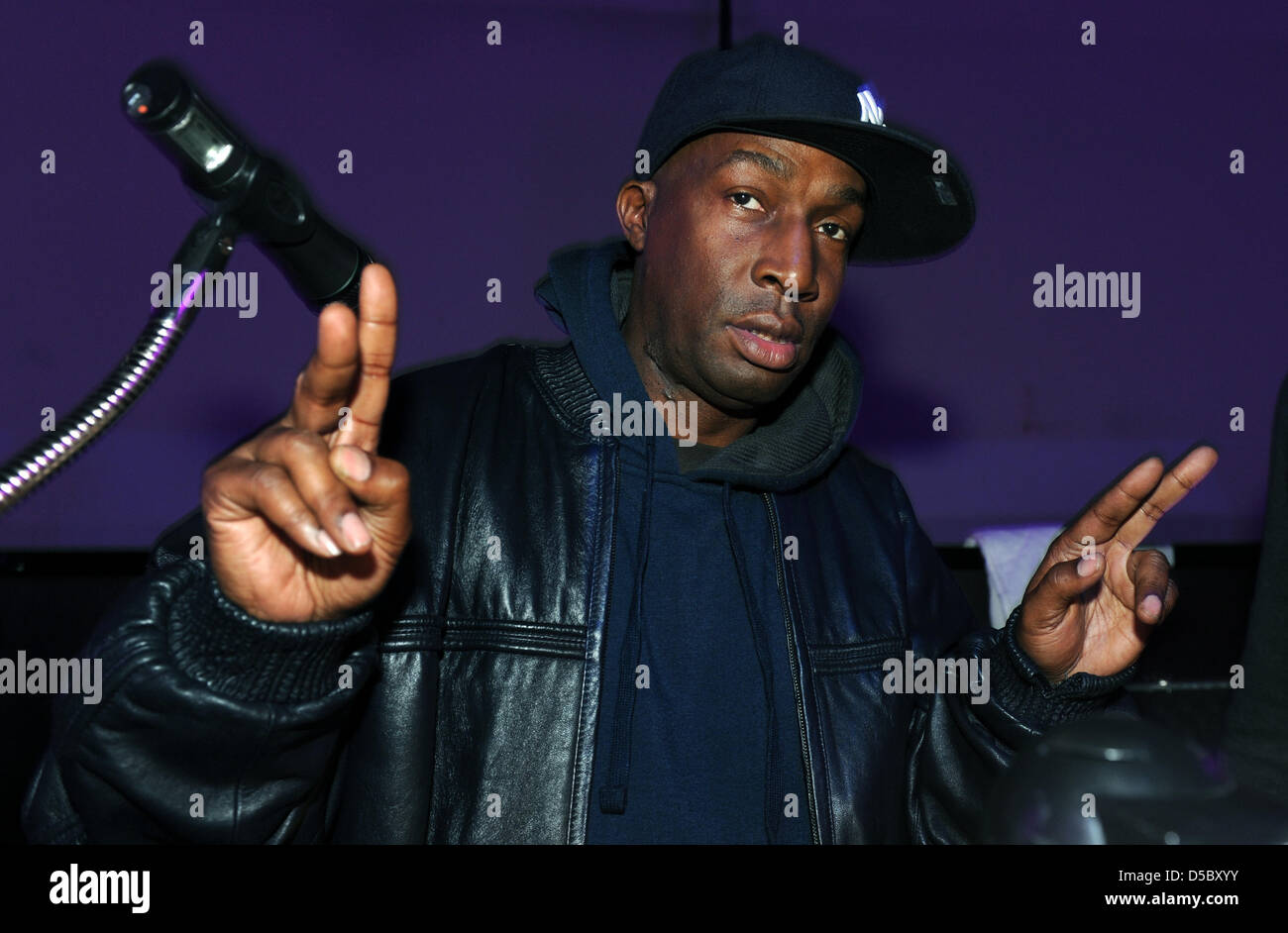 U.S. American DJ Grandmaster Flash alias Joseph Saddler poses during the soundcheck at the noble nightclub 'P1' - Stock Image