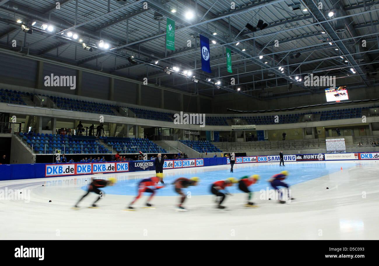 Participants of the men's forerun over 1500m curve during the Shorttrack European Cup at Freiberger Arena in Dresden, Stock Photo