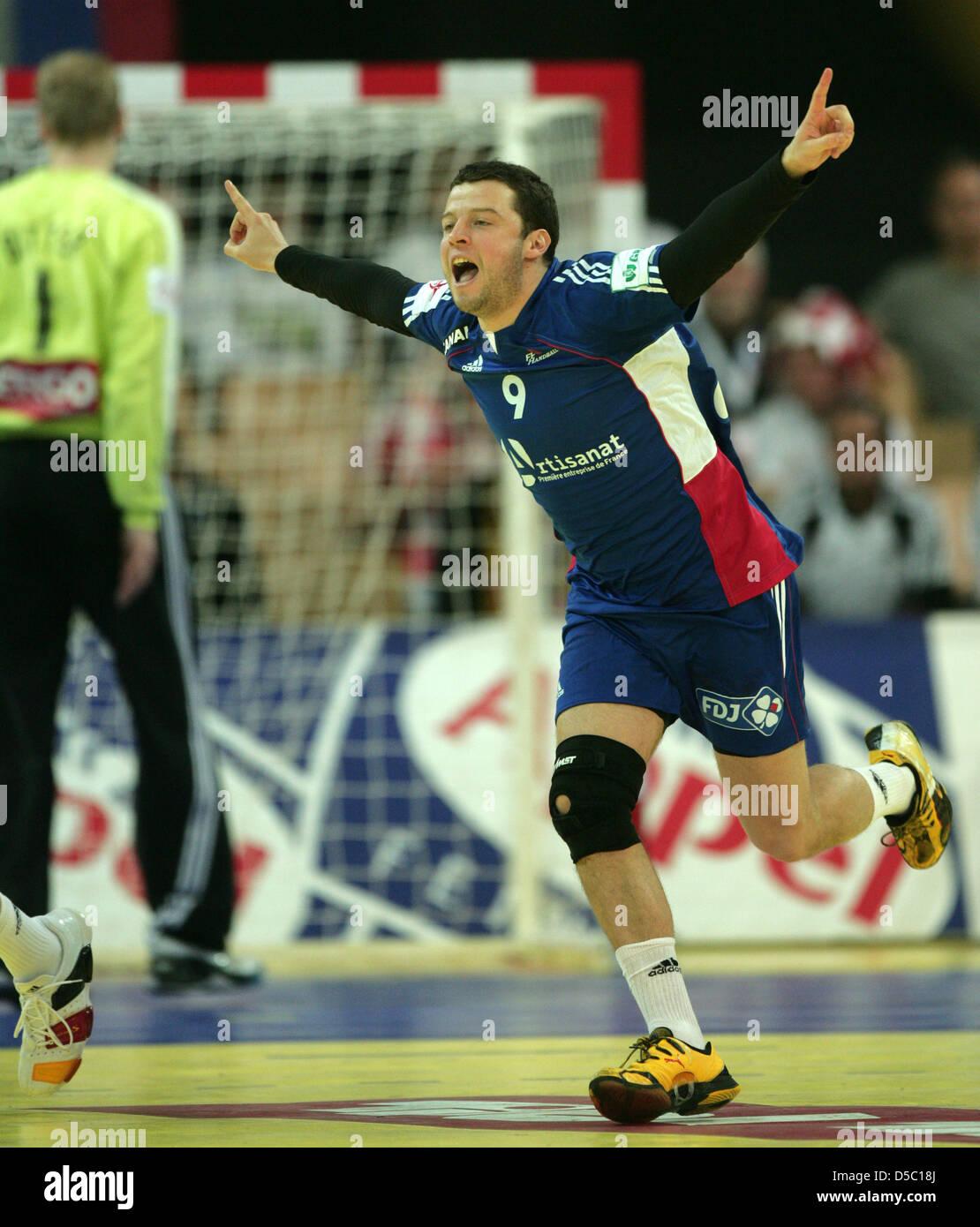 Handball-Europameisterschaft in Österreich: Hauptrunde Gruppe 2, am Sonntag (24.01.2010) in Innsbruck. Der - Stock Image