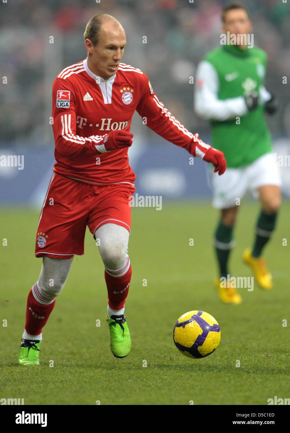 Fu§ball Bundesliga 19. Spieltag: Werder Bremen - Bayern MŸnchen am Samstag (23.01.2010) im Weserstadion in - Stock Image