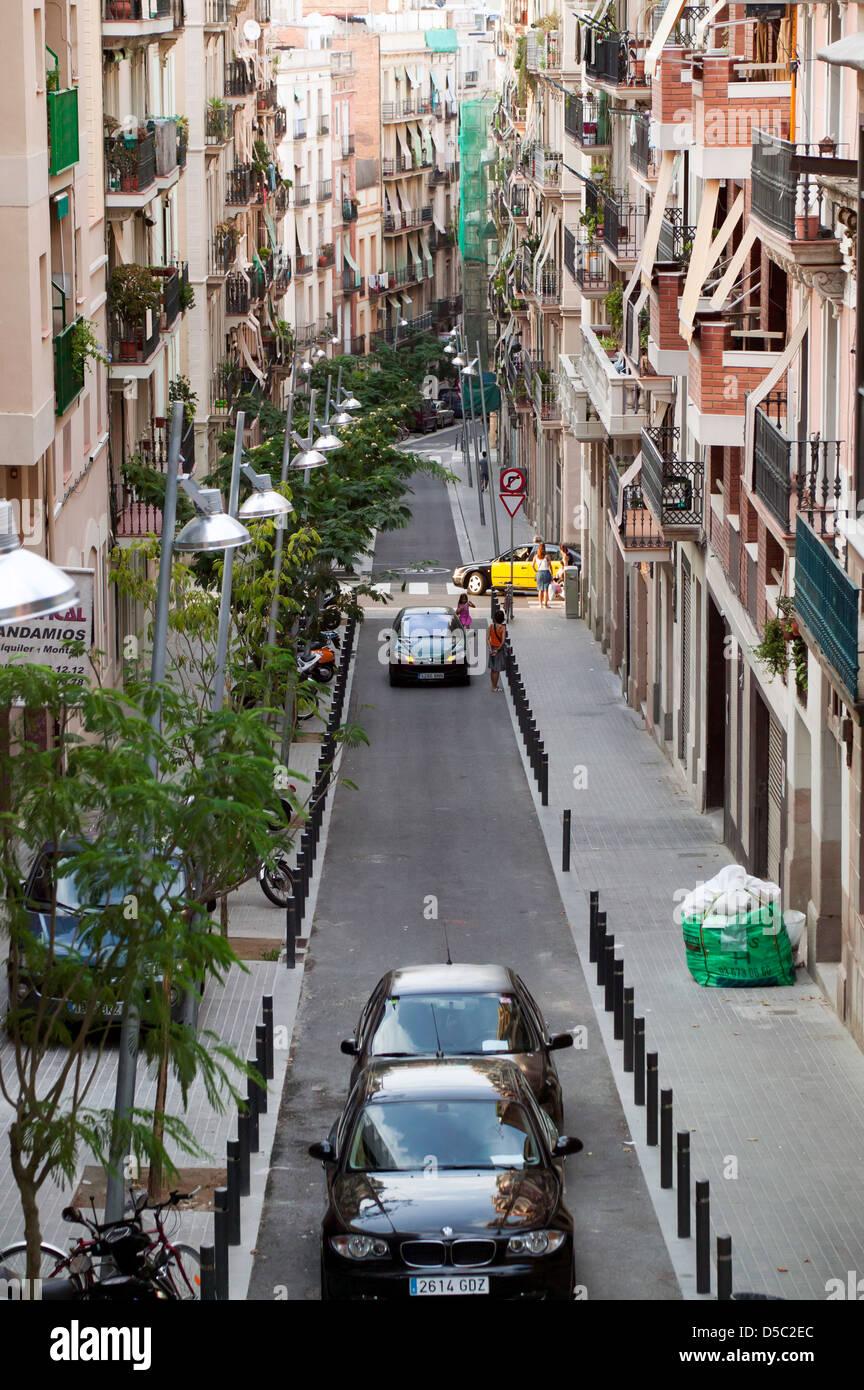 Dramatic street scene under Mont Juic, Bacelona, Spain - Stock Image