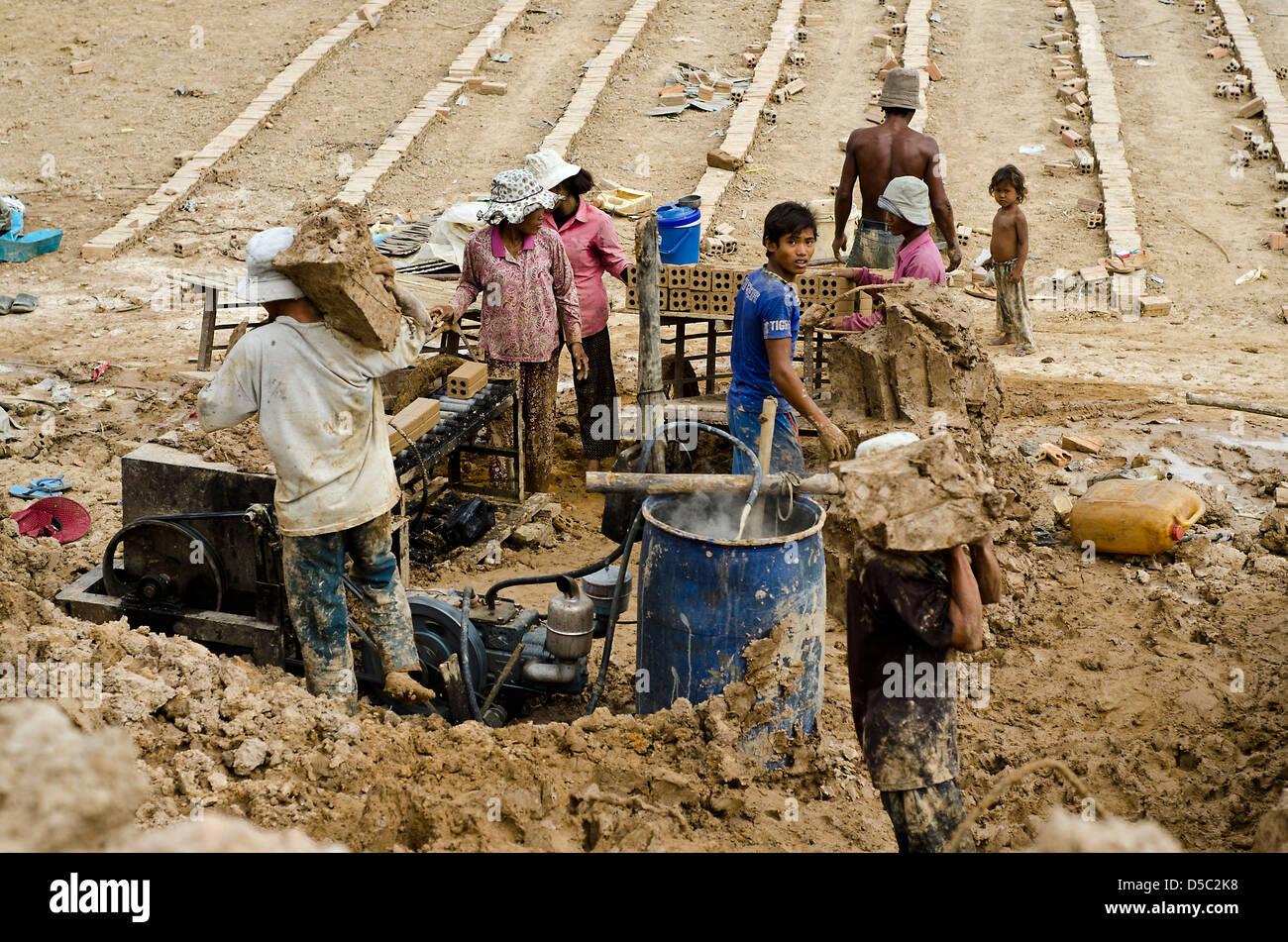 Brick factory , Cambodia Stock Photo